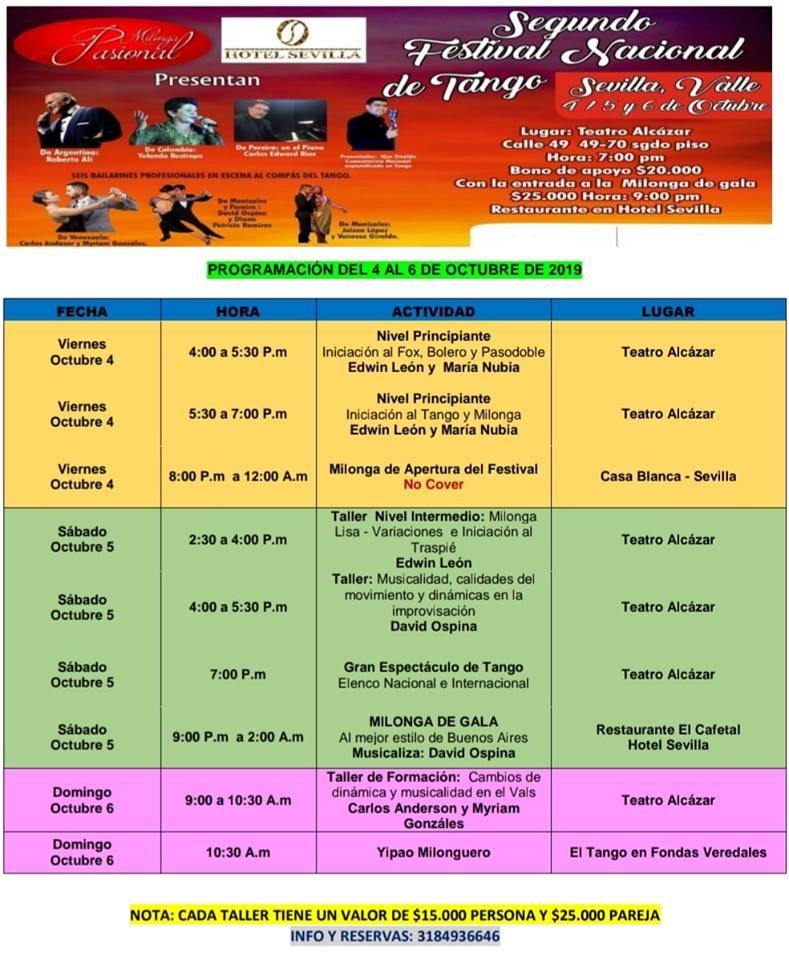 Programación Segundo Festival Nacional Tango
